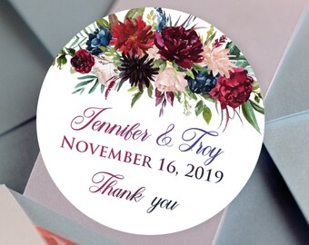 Fall Wedding Favors Thank You Labels - Fall Bridal Shower Favors - Fall Thank You Favors - Marsala, Navy, Pink and Red Fall Wedding Stickers