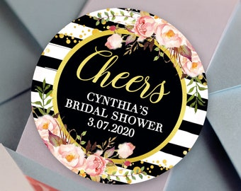 Cheers Black Stripes with Faux Gold Foil Floral Bridal Shower Round Labels - Bridal Shower Favors, Designer Stickers, Wedding