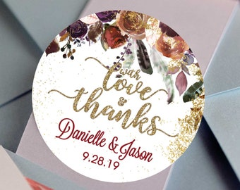 With Love and Thanks Fall Wedding Favors - Personalized Stickers -  Round Stickers - Stars - Color Coordinated - Wedding Decor - Thank you
