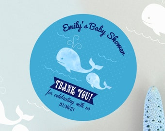 Blue Baby Whale Baby Shower Stickers | Personalized  Whale Stickers | Baby Shower Favors  | Thank You Stickers