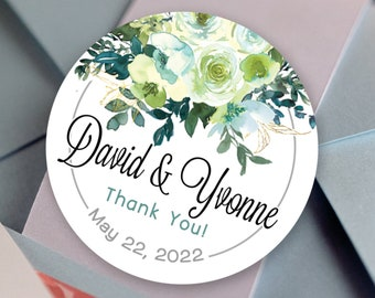 Personalized Chartreuse & Turquoise Custom Party Stickers for Birthdays, Weddings, Bridal Showers, Baby Showers and More