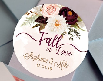 Personalized Burgundy Rose and Dahlia Bridal Shower Wedding Fall  in Love Thank You Stickers | Thank You Labels | Round Labels