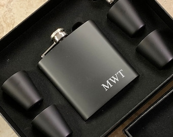 Personalized Engraved Flask | Personalized Black Flask | Groomsman Flask | Best Man Flask | Groomsmen Flask | Bridal Party Flask