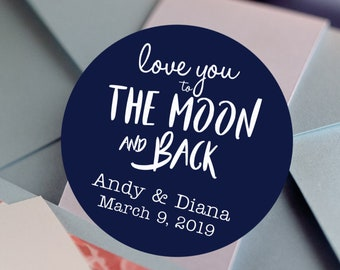 Love you to the moon and back wedding favor labels - Round Wedding labels - Bridal Shower stickers - Candy Stickers - Wedding Favor Stickers