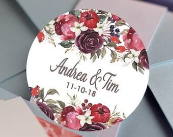 Thank you Labels - Wedding labels - Bridal Shower stickers - Wedding Decor - Thank you Stickers - Fall Colors Floral Bouquet