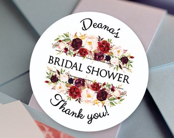 Bridal Shower Stickers, Custom Bridal Shower Labels - Round labels - Bridal Shower Stickers - Burgundy Rose Candy stickers