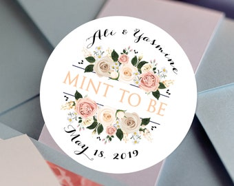 Bridal Shower Stickers, Custom Bridal Shower Labels - Round Bridal Shower labels - Bridal Shower Stickers - Peach and Ivory Roses