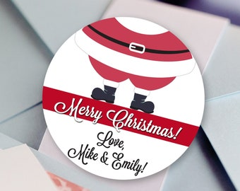 Personalized Santa Feet Christmas Gift Tags | Christmas Gift Stickers | Christmas Gift Labels | Holiday Gift Tags | Round Label Stickers