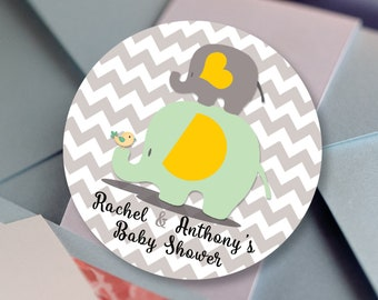 Baby Shower Yellow Grey Elephant Personalized Round Stickers - Baby Yellow, Mint & Gray Chevron Labels - Baby Shower Decor - Thank you