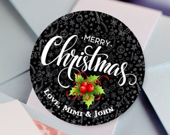 Personalized Christmas Stickers  | Christmas Gift Labels | Merry Christmas Labels | Holiday Gift Tags | Gift Labels