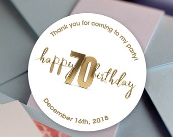 Happy Birthday, Custom Labels - Personalized Stickers -  Round Stickers - Color Coordinated - Birthday Decor - Thank You - Milestone