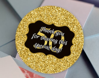 Faux Gold Glitter Glossy Round Labels - Birthday Favor Labels - Milestone Stickers - Birthday Favors - Milestone Birthday Favors