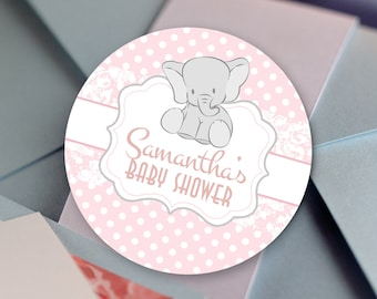 30 Baby Shower Favor Stickers - Glossy Round Labels - Little Peanut Favors - Baby Elephant  Baby Shower Favors