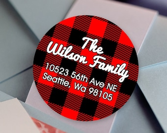 Buffalo Plaid Christmas Address Labels | Return Address Sticker | Rustic Red and Black Plaid Stickers | Lumberjack Address Card Labels