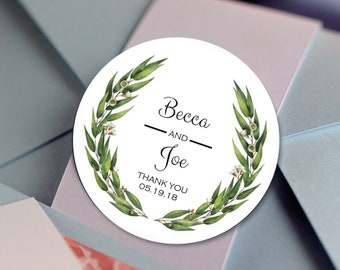 Green Eucalyptus Wreath, Custom Labels - Personalized Stickers -  Round Stickers - Thank you - Color Coordinated - Wedding Decor