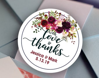 With Love and Thanks Thank You Stickers - Personalized Stickers -  Round Stickers - Color Coordinated - Wedding Decor - Burgundy Rose