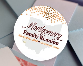 Thank you Stickers, State, Thank you Labels - Personalized Stickers - Family Reunion Round Stickers - Reunion Stickers - BBQ Stickers