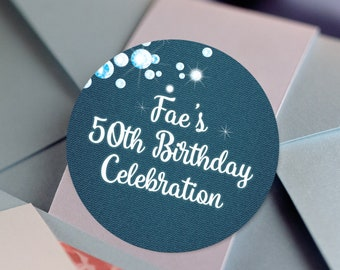 Denim and Diamonds, Custom Labels - Personalized Stickers -  Round Stickers - Color Coordinated - Birthday Decor - Thank you