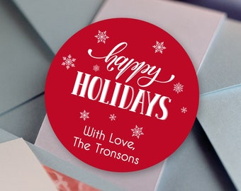 Personalized Christmas Stickers    Red Christmas Gift Labels   Happy Holiday Labels   Holiday Gift Tags   Gift Labels