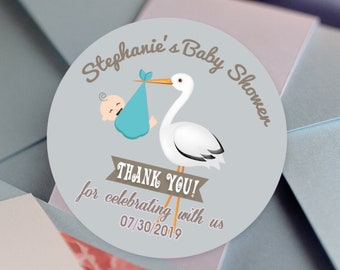 Baby Shower Baby Stork Personalized Round Stickers - Stork Baby Shower  Labels - Baby Shower Decor - Thank you