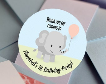 Baby Shower Little Peanut Elephant Personalized Round Stickers - Little Peanut Baby Shower  Labels - Baby Shower Decor - Thank you