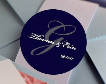 Thank you Stickers, Custom Labels - Round Wedding labels -Wedding Candy Stickers - Wedding Favor Stickers - Monogram, Names and Date