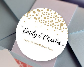 Gold Dots Thank You Labels - Personalized Stickers -  Round Stickers - Bridal Shower - Color Coordinated - Wedding Decor - Thank you