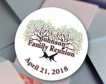 Thank you Stickers, Custom Thank you Labels - Personalized Stickers -  Family Reunion Round Stickers - Reunion Stickers - BBQ Stickers