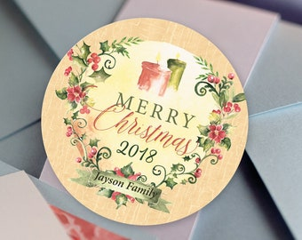 Round Christmas Labels, Round Labels for Christmas Cards, Address Labels, Christmas Stockings, Round Christmas, Christmas Labels