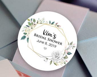 Gold Frame with White Rose Bouquet Bridal Shower Labels - Round Bridal Shower labels - Bridal Shower Stickers - Bridal Shower Candy Stickers