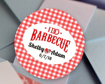 Thank you Stickers, I Do BBQ, Thank you Labels - Personalized Stickers - Family Reunion Round Stickers - Reunion Stickers - BBQ Stickers
