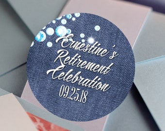 Denim and Diamonds, Custom Labels - Personalized Stickers -  Round Stickers - Color Coordinated - Retirement Decor - Thank you