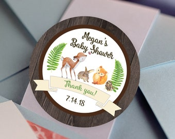 Thank You, Rustic Labels - Personalized Stickers -  Round Stickers - Baby Shower - Woodland Animals - Color Coordinated - Woodland Baby