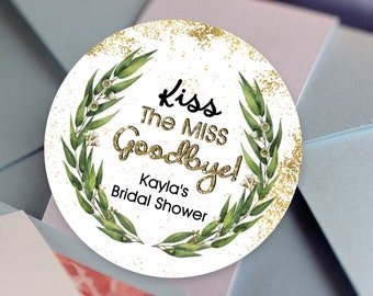 Green Eucalyptus Wreath, Custom Labels - Personalized Stickers -  Round Stickers - Thank you - Color Coordinated - Kiss the Miss Goodbye