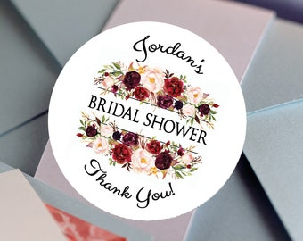 Bridal Shower Stickers, Custom Bridal Shower Labels - Round Bridal Shower labels - Bridal Shower Stickers - Burgundy Rose Candy stickers