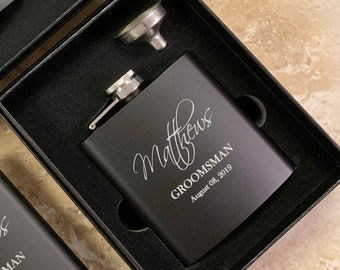 Groomsmen Gift Custom Flask Set Personalized Engraved Box Set Proposal  Best Man Women Bridesmaid Bachelor Party Wedding Favors Matte Black