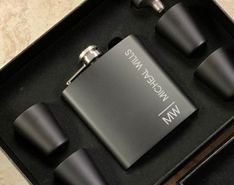 Groomsman Gift | Personalized Flask Set for Men | Custom Engraved Black Hip Flask | Best Man Flask | Initials and Name Flask for Groomsmen