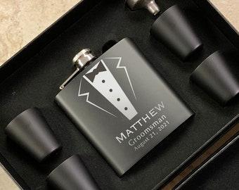 Engraved Flask | Personalized Black Flask | Groomsman Flask | Best Man Flask | Wedding Party Flask | Bridal Party Flask | Tuxedo Flask