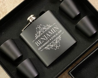 Personalized Flask | Personalized Black Flask | Groomsman Flask | Best Man Flask | Wedding Party Flask | Bridal Party Flask | Bridesmaid