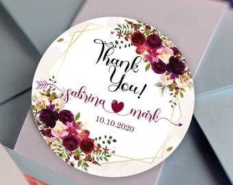 Floral Custom Labels - Personalized Stickers -  Round Stickers - Bridal Shower - Wedding Decor - Thank you - Burgundy Rose Bouquet