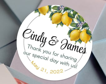 Personalized Vintage Botanical Citrus Custom Lemon Party and Favor Stickers for Birthdays, Weddings, Bridal Showers, Baby Showers and More