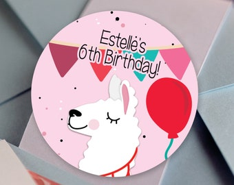 Whole llama Fun Round Party Stickers | Llama Birthday Party Labels | Banner, Balloons and Llama Fun | Multiple Colors Available