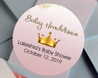 30 Glossy Round Labels - Prince Favor Labels - Baby Shower Stickers - Birthday Favors - Pink Baby Shower Crown Faux Gold Glitter Labels