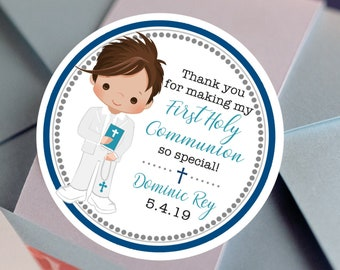 First Holy Communion, Round Stickers, Boys Holy Communion Stickers, Communion Favors, Party Favors, Round Labels, Confirmation Labels