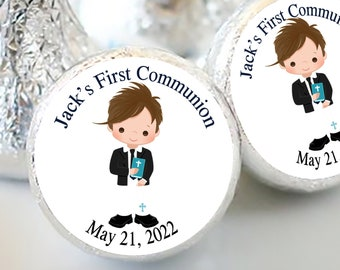 Boys First Holy Communion Candy Kiss Stickers | Communion and Baptism Favors  | Sheet of 108 Stickers | Brown Haired Boy