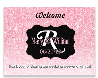 Personalized Welcome Box Labels -  Wedding Welcome Bag Labels - Welcome Stickers - Box Stickers - Rose Gold Monogram