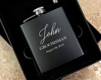 Personalized Engraved Flask | Personalized Black Flask | Groomsman Flask | Best Man Flask | Wedding Party Flask | Bridal Party Flask