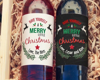 Christmas Wine Bottle Label - 4 Christmas Wine Labels - Have Yourself a Merry Little Christmas White Label, Christmas Gift - Secret Santa