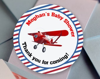 Vintage Red Prop Airplane Round Stickers - Vintage Airplane Shower  Labels - Baby Shower Decor - Thank You Baby Shower Favor Labels