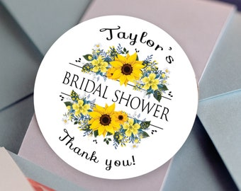Bridal Shower Stickers, Custom Bridal Shower Labels - Round Sunflower labels - Bridal Shower Stickers - Bridal Shower Candy Stickers